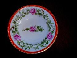Rózsás antik kézzel festett tányér  23 cm átmérő