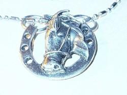 3 D-s Szerencse Patkó - Ló Tibeti ezüst Nyaklánc 62 cm !!