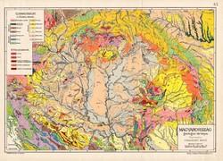 Magyarország geológiai térkép 1907, eredeti, atlasz, Kogutowicz Manó, régi, Cholnoky Jenő, magyar
