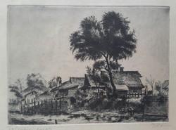 Boldizsár István 1897-1984  Folyóparti házak rézkarc a dúc mérete:19,5cmX14, 5cm a lap:26,5cmX26,5cm