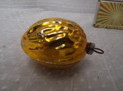 Dió alakú régi üveg karácsonyfa dísz 6 x 4 cm