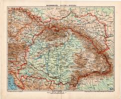Magyarország, Galícia és Bukovina térkép 1907, eredeti, atlasz, Kogutowicz Manó, régi, magyar nyelvű