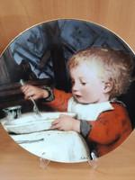 """Suisse Lagenthal falitányér """"Knabe bei Tisch"""" Albert Anker festő képe hibátlan állapotú"""