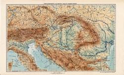 Osztrák - Magyar Monarchia hegy- és vízrajzi térkép 1913, eredeti, atlasz, Kogutowicz Manó, régi