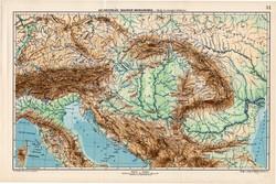 Osztrák - Magyar Monarchia hegy- és vízrajzi térkép 1907, eredeti, atlasz, Kogutowicz Manó, régi