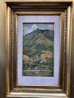 Basch árpád, hegyi tó jelzett olaj festmény