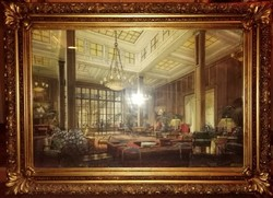 Monumental Art Nouveau labeled watercolor interior in gilded frame