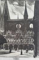 Zádor István 1882-1963, Lübeck 1922 rézkarc, dúc mérete:25cmX36cm,papir mérete:32,5cmX45cm