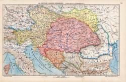 Osztrák - Magyar Monarchia politikai és közlekedési térkép 1907, eredeti, atlasz, Kogutowicz Manó