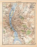 Budapest térkép 1929, eredeti, német és magyar nyelvű, lexikon melléklet, Magyarország, főváros