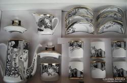 Szász Endre hollóházi porcelán kávéskészlet pillangós
