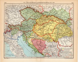 Osztrák - Magyar Monarchia térkép 1815 - 1920, kiadva 1932, eredeti, német nyelvű, lexikon melléklet