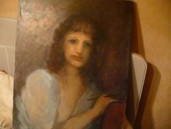Női portré nagyobb olajfestmény