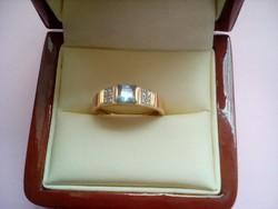 Aranyozott ezüst gyűrű akvamarinnal