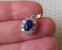 Klasszikus kék köves ezüst medál - új ékszer