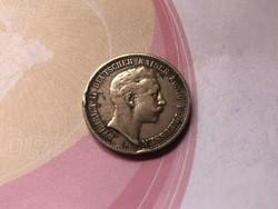 1905 ezüst 2 márka Szép patina 11 gramm 0,900 Ritkább