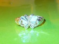 Régi Pillangó - Szív 925 ezüst  Gyűrű 8-as