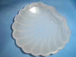 Kagyló formájú,vastag opál üveg hibátlan  gyűrű tartó
