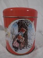 Fémdoboz - karácsonyi - körben mintás HAPPY NEW YEAR  felirattal 12 x 10 cm