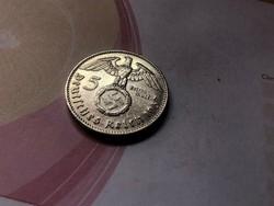 """1937""""J"""" ezüst horogkeresztes 5 márka,ritkább gyönyörű darab"""