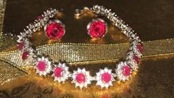 Gyönyörű antik ezüst rubin köves karék+fülbevaló+diszcsomagolás