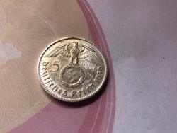 """1939""""B"""" ezüst horogkeresztes 5 márka 13,88 gramm 0,900"""