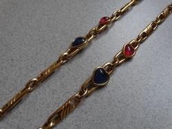 Aranyozott hosszú nyaklánc szív alakú, kristály betétekkel, Juwel, Bécs