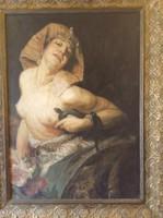Hatalmas méretű , gyönyörű akt olaj-vászon festmény