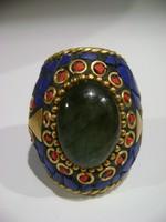 Antik keleti  kézműves alkotás, drága köves,nagy smaragd,zafír korallal,