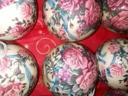 Rózsás gömbdíszek,karácsonyfadíszek-12 db