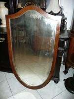 Gyönyörű, ritka antik nagy pajzs tükör az 1800-as évkből az eredeti csiszolt tükörrel