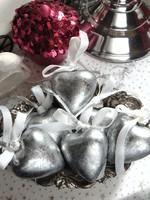 6 db ezüst szív karácsonyfadísz