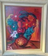 Frank Frigyes jelzéssel virágcsendélet keretben