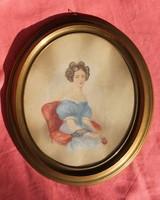 Biedermeier hölgyportré XIX. századból