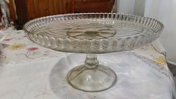 Antik asztalközép, kínáló ólomüveg eladó!Szép metszett díszítéssel.