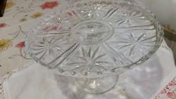 Antik ólomüveg asztalközép kínáló, süteményes tál, tortatartó eladó!