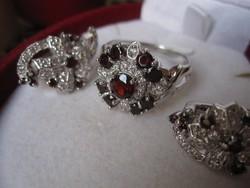 Választható gyűrű! Gránát 925 sterling ezüst gyűrű és fülbevaló ékszerszett