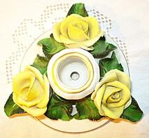 Herendi sárga rózsás gyertyatartó