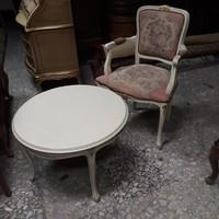 Chippendél barok rokoko goblein mintás törtfehér karosszék és szalon asztal