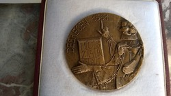 Debrecen 1561 HUSZARCALbronz plakett LE.jelz.