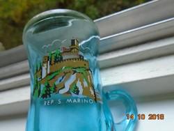 San Marino várával,souvenir,Reims-i türkíz kék üveg,füles vastag falú pohár-7,5 cm