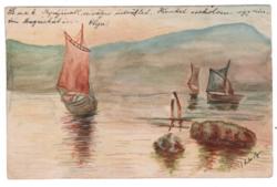 Kézzel készült egyedi akvarell képeslap 1904 Lugos