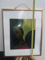 Lukacy szignós, kubista festmény, olaj, kartonon, keret, törött üveg