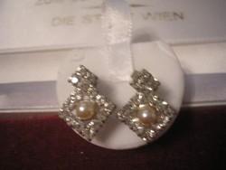 Art decó Ék kövekkel filigrán fülbevalók + gyöngy dísszel