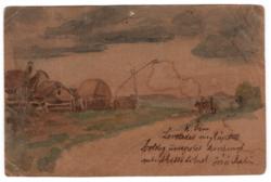 Kézzel készült egyedi akvarell képeslap 1901 Arad