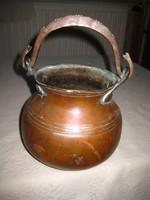 Régi vörösréz  ,balkáni teafőző kanna ,szép kézi munka ,a fogója is tömör réz 18x20 cm
