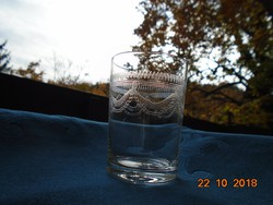 Antik szecessziós mintás savmaratott pohár-7,5 cm