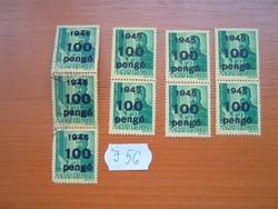 8 FILLÉR / 100 PENGŐ 1945 GÖRGEY ARTÚR  FELÜLNYOMOTT 3 X 2 PÁR 1 X 3 9 DB  J56