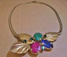 Mesés antik valódi rubin,smaragd,zafír nyakék