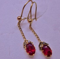 Szép antik gránát,gyöngy arany fülbevaló